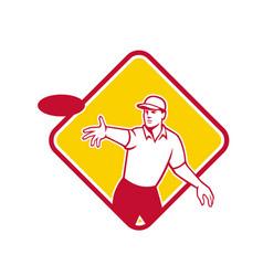 Disc golf player throwing mascot diamond vector