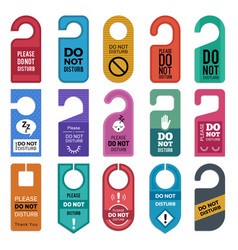 do not disturb hotel handle door room symbols vector image