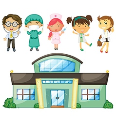 Doctors and nurses at the hospital vector image