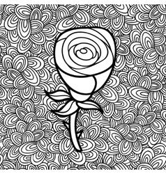 Doodle pattern with black and white flower image vector