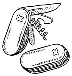 doodle pocket knife handy vector image