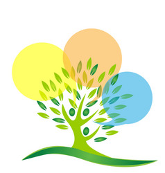 Environment tree people cleaning icon vector