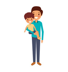father holding their son kid smiling vector image