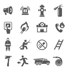 Fire fighting icon set firefighter job vector