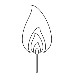 Fire flame match burning hot design line vector