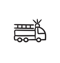 Fire truck sketch icon vector