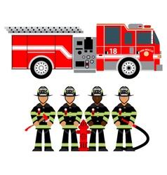 Firetruck and fireman vector
