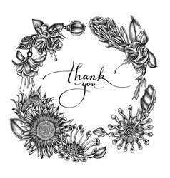 Floral wreath black and white african daisies vector