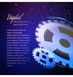 Gear-wheels over lights rays with dark background vector image