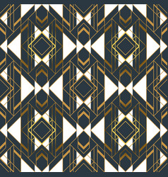 gold black abstract artdeco frame seamless pattern vector image