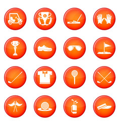 golf icons set red vector image