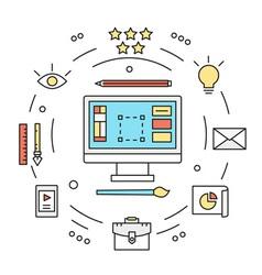 Graphic designer equipments design vector image