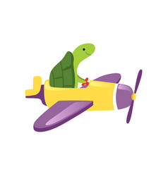 green turtle flying on yellow plane with purple vector image
