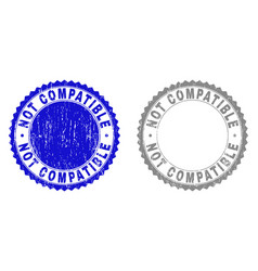Grunge not compatible scratched stamps vector
