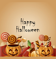 happy halloween card pumpkins basket with candy vector image