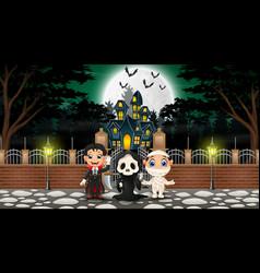 Happy kids wearing halloween costume outdoors with vector