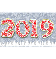 happy new year 2019 greeting card template vector image