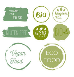 Healthy food icons labels organic tags natural vector