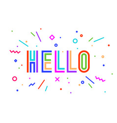 hello banner speech bubble poster and sticker vector image