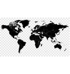 Hi detail black political world map vector