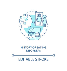 History eating disorders blue concept icon vector