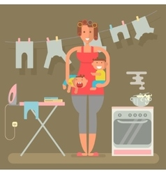 Housewife in funny cartoon style vector image