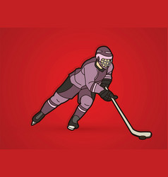 ice hockey player action cartoon sport graphic vector image