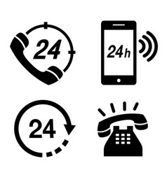 icon phone 24 hours telephone communication vector image