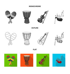 Isolated object of music and tune sign set of vector