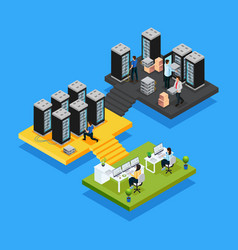 Isometric data center concept vector