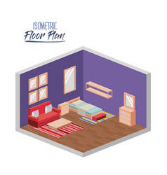 isometric floor plan of bedroom single bed and vector image