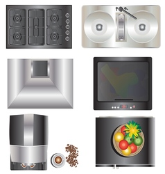 Kitchen equipment top view set 9 vector image