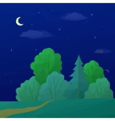 Landscape Night Forest Low Poly vector
