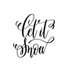 let is snow hand lettering inscription to winter vector image