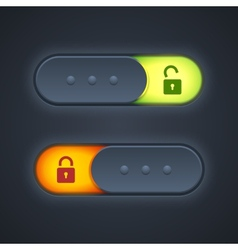 Lock or unlock switcher in 3d style with backlight vector