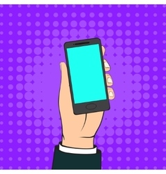 Male Hand Holding a Mobile Phone vector image