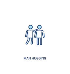 Man hugging concept 2 colored icon simple line vector