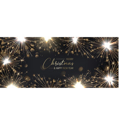 merry christmas background with golden sparklers vector image