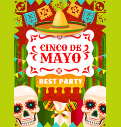 mexican holiday party poster cinco de mayo vector image
