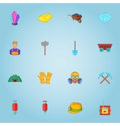 Mining icons set cartoon style vector image