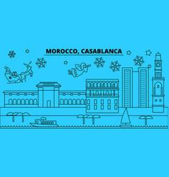 Morocco casablanca winter holidays skyline merry vector
