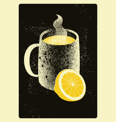 mug with hot drink and lemon vector image