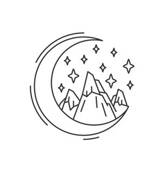 New moon and night mountain vector