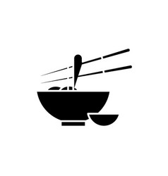 noodles black icon sign on isolated vector image
