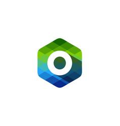 o hexagon pixel letter shadow logo icon design vector image