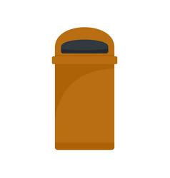 orange trash box icon flat style vector image