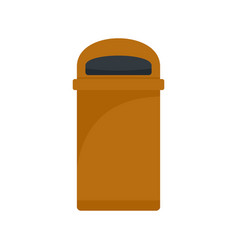 Orange trash box icon flat style vector