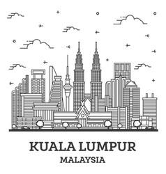 Outline kuala lumpur malaysia city skyline vector