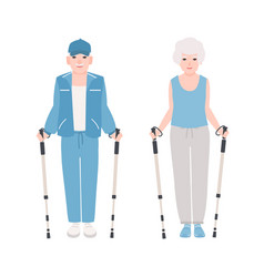 pair of elderly men and women dressed in sports vector image