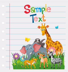 paper template with wild animals vector image